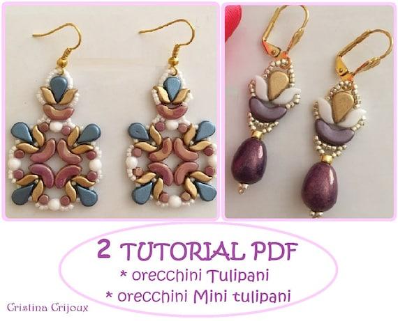 Tutorial stormduo earrings Tutorial bicons earrings beading tutorial Pdf earrings tutorial beadweaving pattern Es-o earrings pattern