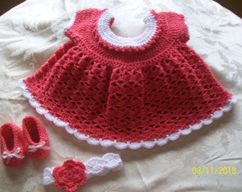 Crocheted Baby Girl Dress with headband and shoes (size 3-6 months)