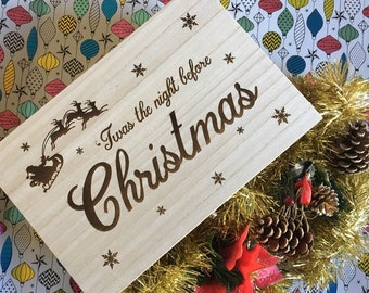 Wooden Personalised Laser Engraved Christmas Eve Box  - Xmas Eve Box - Christmas Memory Box