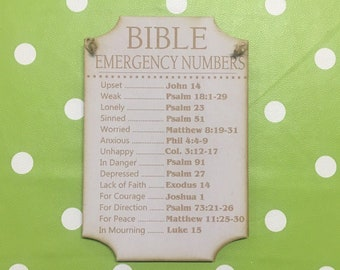 Bible Emergency Numbers - Laser Engraved Wooden MDF Plaque - Christian - Religious Gift - Bible Reference Numbers - Laser Cut - 6MM MDF