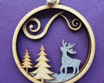 3D Laser Cut Reindeer Christmas Bauble-3mm Laser Cut Stacked MDF baubles-Christmas Gifts - Christmas baubles - glitter christmas tree decor