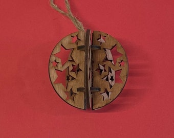 Christmas Wooden Bauble - Laser Crafted - Christmas 2021