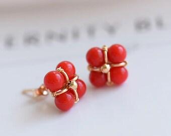 Blood red coral Coral Earrings Earrings 14k March Birthstone