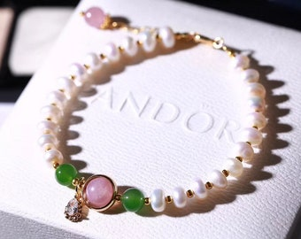 Rose Quartz Pearl Bracelet