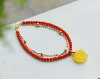 Blood Red coral coral beeswax 14k Bracelet