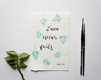 Love Never Fails Green Leaves Framework