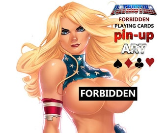 """TOPLESS! NEW BOOK! Patriotika Playing Cards Pin Up Art """"Forbidden Savage Outfit"""""""