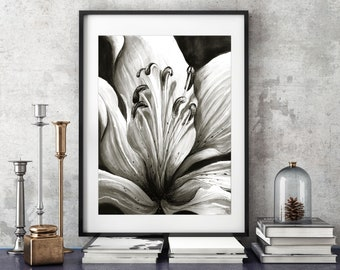 """Wall art, print, illustration. """"Majestic Lily"""" by Jodie Clark. Black and white print.  A4 & A3"""