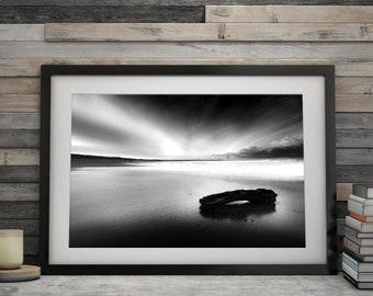 """Norfolk sunset, Black and white wall art, photography print. """"Solitude"""" A4 & A3"""