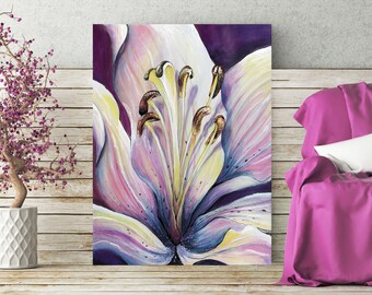 """Wall art, print, illustration. """"Majestic Lily"""" by Jodie Clark. Floral colour print.  A4 & A3"""