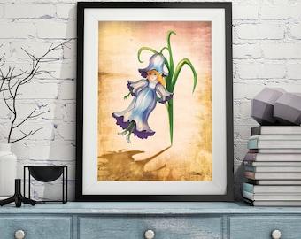 "Children's wall art, print, illustration. ""Bettie Blue"" by Jodie Clark.  A4 & A3"