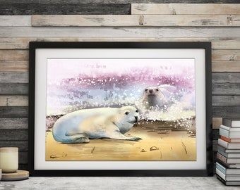 """Norfolk Seal wall art, print, illustration. """"Play Mates"""" by Jodie Clark.  A4 & A3"""