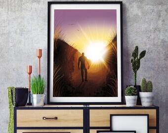 "Norfolk Surf wall art, print, illustration. ""Escape"" by Jodie Clark.  A4 & A3"