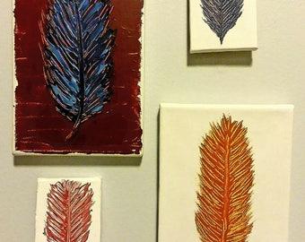 Boho Feather Mini Canvas Wall Art