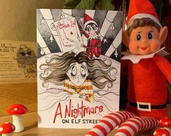 Christmas card, cult horror movie, Nightmare on elf street, freddy the elf, Christmas elf, Funny Card, Dark humour card