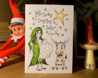 Christmas card, Little donkey, Dark Humour, funny Christmas card, surprise inside