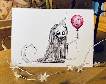Halloween card, Celebration card, Birthday card, Party till you drop, Grim reaper, Dark Humour
