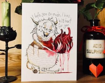 Halloween card, Monster love card, Dark Humour, Anniversary card, Birthday card, Special gift,