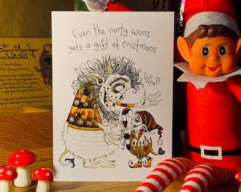 Christmas card, Surprise inside, Monster card, elf card, Christmas present, Christmas gift, dark humour