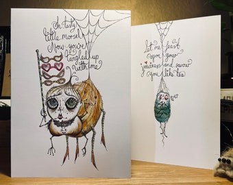 Halloween card, Spider eating a fly, Dark love, Scare your house mate/friend/partner, Dark humour, Fun card