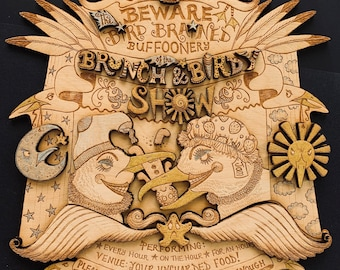 Seagull wood etching, Wallhanging, Herring Gulls, Beware the Brunch and Birdy Show sign, Punch and Judy Show, Protect your food