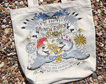 Canvas tote bag, hardwearing, natural with gusset, seagulls, herring gulls, seaside, Brighton, birds, beach scene
