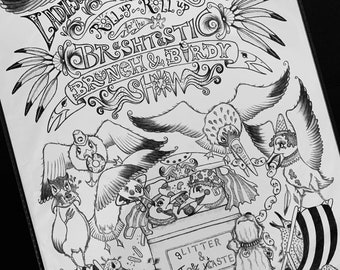 Seagull print, Illustration, Punch and Judy Show, Love/hate, Valentine's, Brunch and Birdy Show, Naughty seagulls, Brighton beach