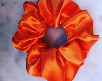 Orange satin scrunchie/orange hair band