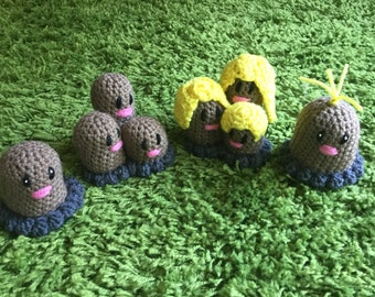 Diglett and Dugtrio (and Alolan forms) Amigurumi Pattern Pack