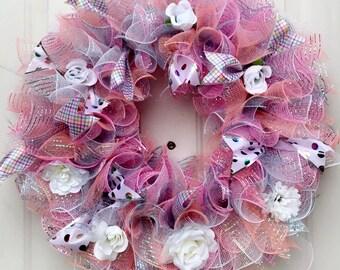Springtime Large Deco Mesh Flower Front Door Wreath