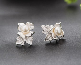 b0a5383a4 White Peony Flower 925 Sterling Silver Natural Cream Pearl Enamel Stud  Earrings