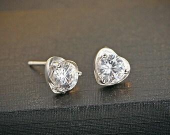 d77dfff35 Swirl Purple/White CZ 925 Sterling Silver Stud Earrings
