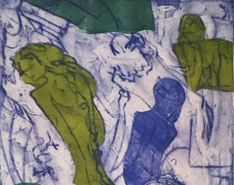 Club Scene in Blue and Lyme. Three females and Two males Original Etching