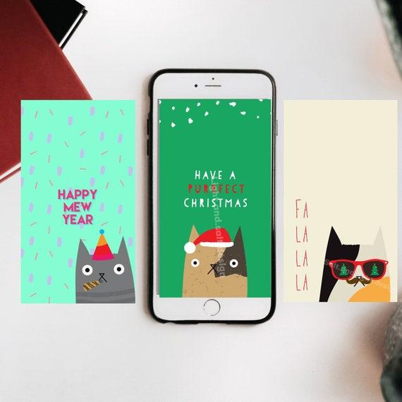 Cute Christmas Cat Digital Illustration Phone Wallpaper Background And Lock Screen Bundle Of Three 3 Cat Lover
