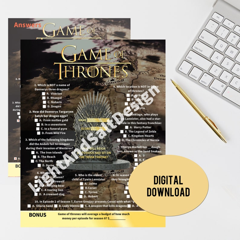 2019 Game Of Thrones Trivia Game Of Thrones Watch Party Etsy