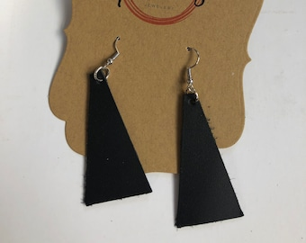 black leather triangle earrings