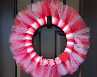 Valentine's Day Tulle Wreath for Front Door
