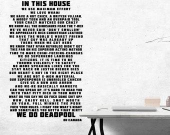 In This House We Do Deadpool - Inspired - Digital Download - 11x17 JPG, SVG - Cut File, Geek Wall Art, Fandom, Printable Poster
