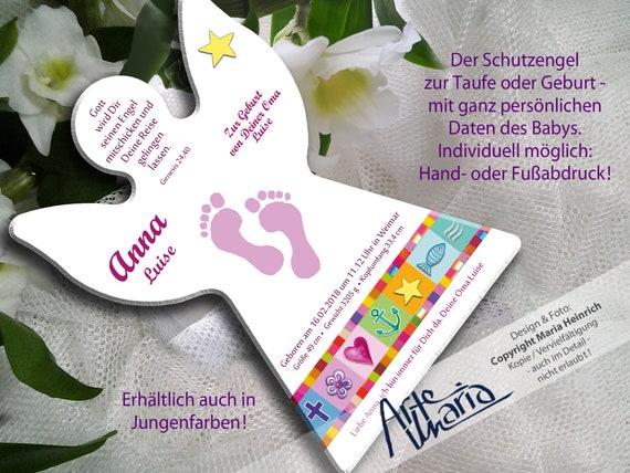 Personalisiert Schutzengel Anna Geschenk Zur Geburt Taufe Einschulung Mit Kleinen Füßchen