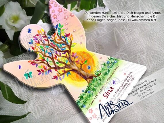 Schutzengel Engel Lebensbaum Zur Taufe Farbwahl Sina Geburt Taufe Kommunion Geschenk Geburt Taufe Pate Großeltern Personalisiert