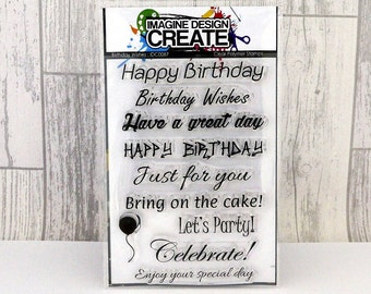 Birthday Wishes sentiments A6 clear photopolymer stamps