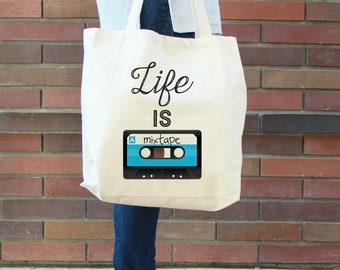 Life is a Mixtape XL Canvas Tote Bag