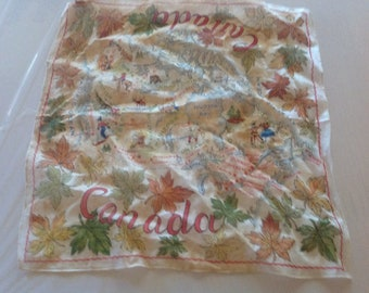 vintage illustrated Canada Map Hanky