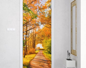 Sunshine Autumn Door Murals Removable Fabric Customizable Home Bedroom Wall  Decal Door Wrap Sticker Self Adhesive