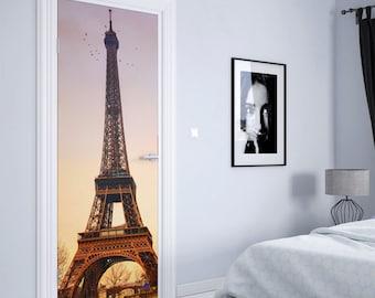 fantasy Eiffel tower door mural removable fabric wall decal custom Eiffel tower landscape door wrap sticker self adhesive wall print decor