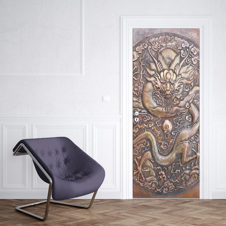 embossment effect bronze dragon pattern door mural removable fabric wall print custom door wrap decal self adhesive home wall art decor