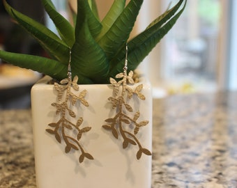 delicate leaf shaped dangle earrings, faux pebbled leather, silver or gold, nickel free hooks, lightweight