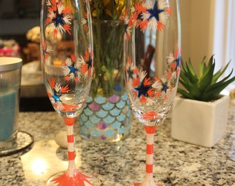4th of July set of 2 champagne flutes, crystal celebration glasses, red white and blue glasses, hand painted flutes, star bursts, celebrate
