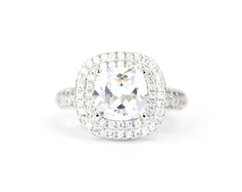 Dazzling Sqaure AAA Zircon White Gold Ring Engagement Band