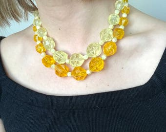 Vintage Yellow Lucite Beaded Necklace   West Germany 1950's